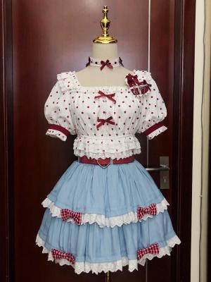 Bowl Cake Short Puff Sleeves Polka Dot Top / Tiered Flounce Mini Skirt Set