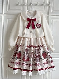 Winter Gift Square Neckline Sweet Lolita Dress JSK / Short Jacket Set