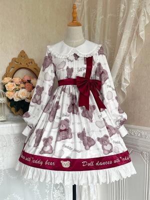 Swing Teddy Peter Pan Collar Long Sleeves Sweet Lolita Dress OP
