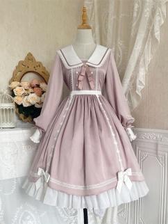 Lover Letter Navy Collar Long Sleeves Sweet Lolita Dress OP