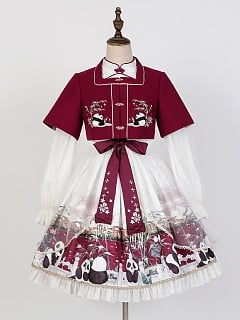 Snow Rolling Stand Collar Long Sleeves Qi Lolita Dress OP / Square Neckline Jacket / Hairclip Full Set