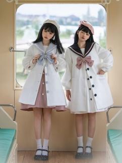 Winter Teddy Cub Navy Collar Long Sleeves Lolita Coat