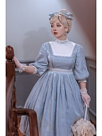 Girl Next Door Collection Shinning Blue Vintage Lolita Dress with Free Big Bowknot Custom Size Available by Queen Devil