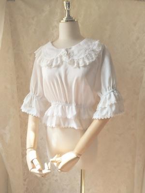 Peter Pan Collar 3/4 Sleeves Flounce Hem Lolita Blouse by Orchif Lane