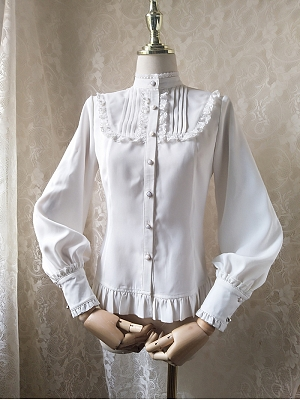 Stand Collor Leg-of-mutton Sleeves Lolita Shirt by Orchid Lane