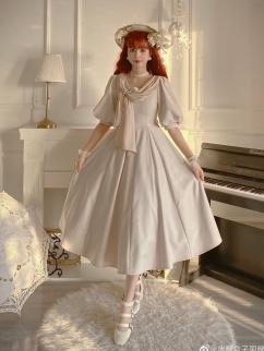 Miss Marina Round Neckline Lantern Sleeves Elegant Lolita Dress OP by Rock Candy Box