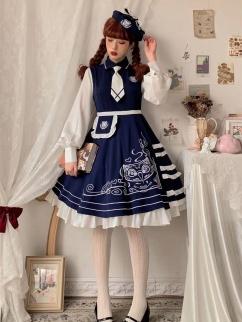 Internship Directory Turndown Collar Long Sleeves Lolita Dress OP by Rock Candy Box