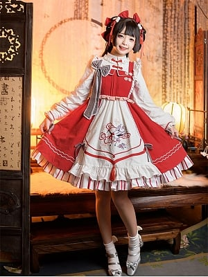 Crane New Year Square Neckline Lolita Dress JSK and Blouse Full Set by Rock Candy Box