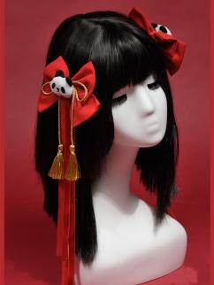Crane New Year Lolita Dress Matching Hairclips by Rock Candy Box