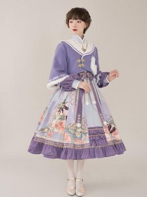 Dawn of Spring Navy Collar Wa Lolita Coat Full Set