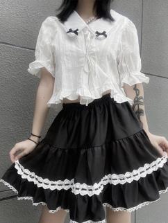 Black Turndown Collar Short Puff Sleeves Self-tie Top / Short Skirt by Rose and Smoker Gun