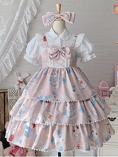 Daily Tiered Flounce Skirt Sweet Lolita Dress JSK by Sakurahime Lolita