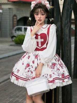 Berry Cat Peter Pan Collar Sweet Nurse Lolita Shirt