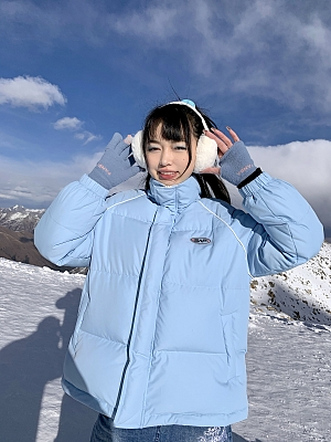 Baby Blue Padded Down Coat by STRIKE A POSE