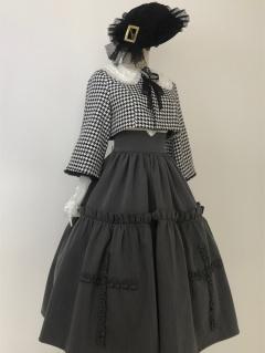 Chidorigafuchi Round Neckline Long Sleeves Houndstooth Elegant Lolita Short Coat