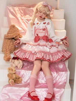 Strawberry Milk Pie Square Neckline Sweet Lolita Overall Dress / Shirt Set