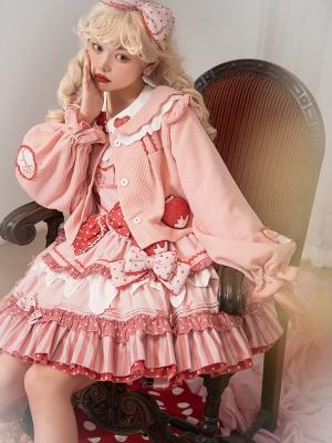 Strawberry Milk Pie Peter Pan Collar Long Sleeves Sweet Lolita Coat Full Set