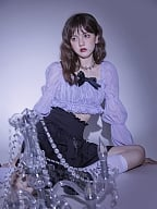 Ye Yuan Purple Square Neckline Long Virago Sleeves Cropped Top by Sagi Dolls