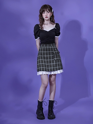 Sister's Heart Sniper Vintage Green Plaid Short Skirt by Sagi Dolls