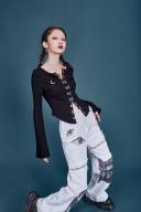 Black Long Trumpet Sleeves Knitted Top by Sagi Dolls
