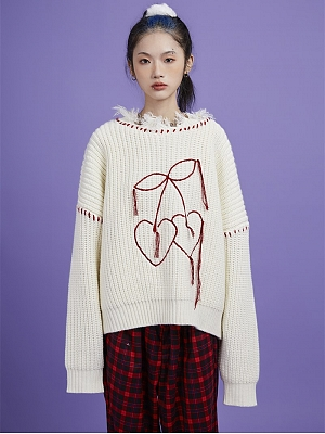 A Cute Ghost Round Neckline Long Sleeves Ripped Pullover Sweater by Sagi Dolls