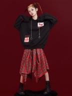 You Say You Will Find Me Black Long Sleeves Print Hoodie by Sagi Dolls