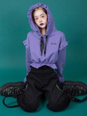 Purple Sunflower Ruffled Long Sleeves Short Hoodie by Sagi Dolls