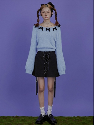 Alice Sky Blue Bowknot Round Neckline Long Sleeves Short Knitted Sweater by Sagi Dolls