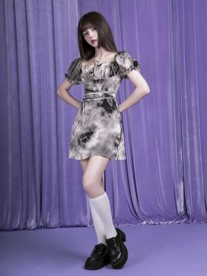 Mud Flower Sexy Square Neckline Short Puff Sleeves Dress by Sagi Dolls