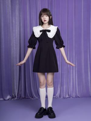 Elegant Vintage Removable Double Layer Collar 3/4 Sleeves Dress by Sagi Dolls