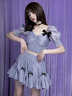Sea Salt Pudding Short Puff Sleeves Cropped Top / Bloomers Puff Skirt Set by Sagi Dolls