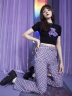 Electro-optical Girl Purple Plaid High Waist Flared Pants by Sagi Dolls