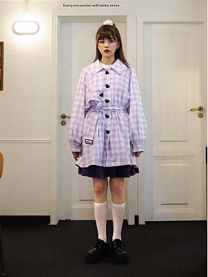 Purple and White Plaid Turdown Collar Long Sleeves Coat