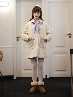 Sadness Teddy Turndown Collar Long Sleeves Woolen Coat