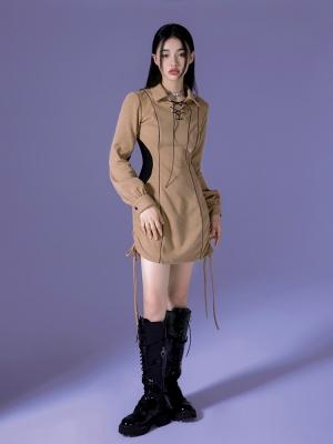 Y2K Turndown Collar Long Sleeves Drawstring Hem Dress
