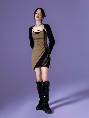 Y2K Sweetheart Neckline Print Cami Dress and Bolero Set