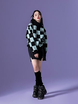 Checkerboard Contrast Color High Neck Long Sleeves Drawstring Sweater