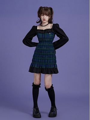 Halloween Little Witch Square Neckline Puff Sleeves Plaid Dress