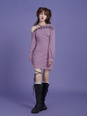 Round Neckline Open Shoulder Long Sleeves Print Dress