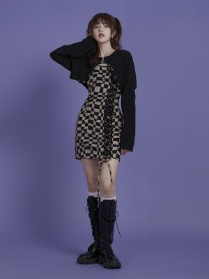 Khaki Checkerboard Cami Dress and Long Sleeves Cropped Cardigan Set