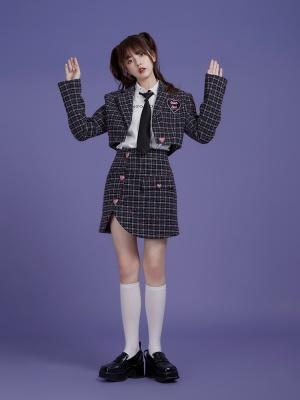Lapel Collar Long Sleeves Short Jacket / Skirt Set