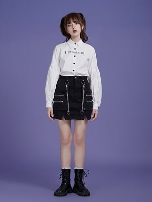Vintage Pointed Collar Lantern Sleeves Embroidered Shirt