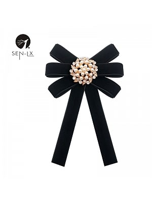 Pure Color Velvet Pearl Bow Tie by SENLX