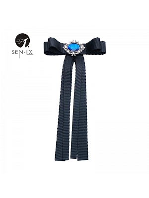 Pure Black  Bow Brooch by SENLX