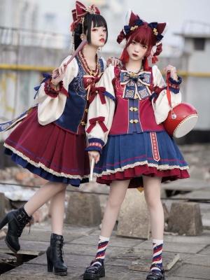 Dancing Lion Qi Lolita Skirt Set A-line Skirt / Long Balloon Sleeves Top