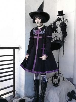 Dark Vampire Bat Collar Long Sleeves Gothic Lolita Dress OP with Bag