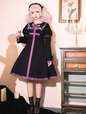 Dark Vampire Bat Collar Long Sleeves Gothic Lolita Dress OP with a Matching Coffin Bag