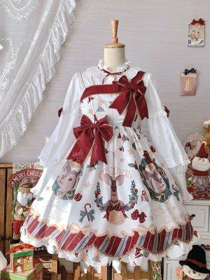 Elk Red Christmas Square Neckline Sweet Lolita Dress JSK