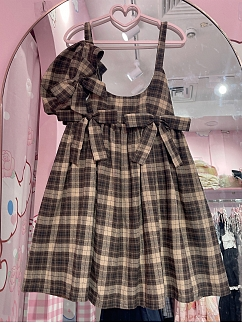 Coffee Plaid Bowknot Decorative Sweet Lolita Overall Dress and Beret