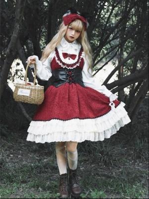 Little Red Riding Hood Turndown Collar Long Sleeves Lolita Shirt